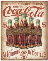 Retro Coca-Cola Wandbord '5 Bottles' - Metaal - 30 x 40 cm