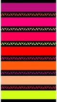 Luxe badlaken/strandlaken grote handdoek 100 x 175 cm gekleurde strepen Twisty Chic