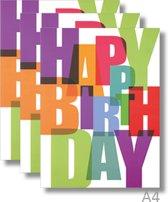 3x Dubbele A4 kaart met envelop - Happy Birthday - Formaat: 235 x 310 mm