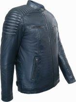 Leren Jas Biker style Heren Cobalt Blauw 50