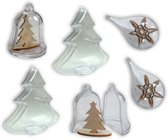 .Joycrafts - Transparante kerstboom; druppel  en kerstklok - 1000/0074