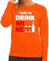 Time to drink Wine tekst sweater oranje voor dames 2XL