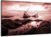 Schilderij   Canvas Schilderij Boot   Bruin, Rood   140x90cm 1Luik   Foto print op Canvas