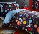 1 persoons kinderdekbedovertrek planeten en raketten in de ruimte/heelal