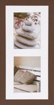Henzo Driftwood 2x Fotolijst - Fotomaat 15x20 cm - Donker Bruin