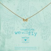 Heart to Get necklace butterfly, gold plated, together we will fly