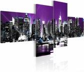 Schilderij - New York City - In de Nacht, Paars, 4luik
