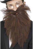 Voordelige lange baard met snor bruin - verkleed accessoire voor heren