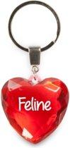 sleutelhanger - Feline - diamant hartvormig rood