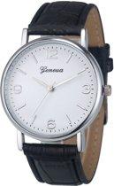 Fako Bijoux® - Horloge - Geneva - Classic - Zilverkleurig - Zwart