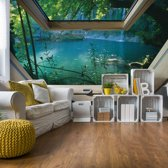 Fotobehang Lake 3D Skylight Window View | VEXXXL - 416cm x 254cm | 130gr/m2 Vlies