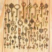 70 Vintage Sleutels Brons - Set met 70 ouderwetse sleutels