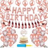 Partizzle® Verjaardag Versiering Set - XXL Decoratie Feestartikelen Man Vrouw - Rose Goud Feest