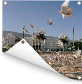 Het presidentieel paleis op Place L'Ouverture in het Haïtiaanse Port-au-Prince Tuinposter 300x300 cm - Tuindoek / Buitencanvas / Schilderijen voor buiten (tuin decoratie) XXL / Groot formaat!