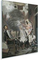 De bedrogen rivalen - Schilderij van Cornelis Troost Plexiglas 120x160 cm - Foto print op Glas (Plexiglas wanddecoratie) XXL / Groot formaat!