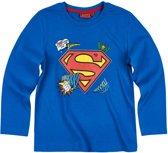 Superman-T-shirt-met-lange-mouw-blauw - Maat 134