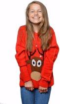 Rode kersttrui met rendier voor kinderen / Unisex - foute kersttruien 7/8 jaar (128/134)