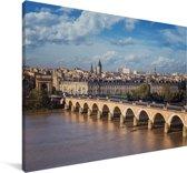 Uitzicht op de Franse stad Bordeaux Canvas 180x120 cm - Foto print op Canvas schilderij (Wanddecoratie woonkamer / slaapkamer) / Europese steden Canvas Schilderijen XXL / Groot formaat!