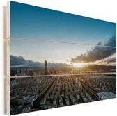 Een rijzende zon komt op in Kunming Vurenhout met planken 90x60 cm - Foto print op Hout (Wanddecoratie)
