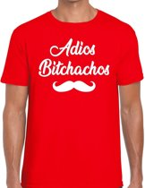 Adios bitchachos tekst t-shirt rood heren - rood heren fun shirt Adios bitchachos S