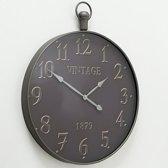 Klok - Vintage - Glas - Ø 74cm - Metaal - industrieel - Grijs-zwart