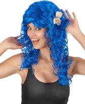 Lange donkerblauwe dames pruik - Verkleedpruik