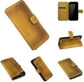 leder van extreem hoge kwaliteit Barchello  hoesje geel leer  Walletcase iPhone 6(s) Plus