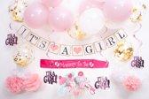 Versier Pakket It's a Girl Babyshower versiering decoraties roze - baby shower girl artikelen - kraambezoek - kraamfeest - geboren kind - feestje - babyfeest - geboortefeest - kraamfeestje decoratie feest pakket voor geboorte meisje