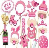Photobooth party props set - Foto accessoires - Baby shower - 18 stuks - Meisje
