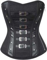 Gothic katoenen overbust korset met gesp detail zwart - Steampunk Vintage - 3XL = 34 inch - VG London