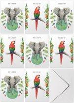 Kaartenset Have a nice day - 10 stuks - A6 - Wenskaarten met envelop - Bedankkaart - Liefdeskaart - Papegaai - Olifant - Tropische decoraties - Schilderingen in aquarel door Mies to Go