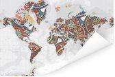 Wereldkaart met kleurrijke versiering Poster 120x80 cm