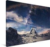 Een donkere sterrenhemel Canvas 120x80 cm - Foto print op Canvas schilderij (Wanddecoratie woonkamer / slaapkamer)