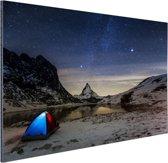 De sterrenhemel boven de Alpen Aluminium 60x40 cm - Foto print op Aluminium (metaal wanddecoratie)