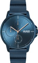HUGO HU1530126 #FOCUS - Polshorloge - Staal - Blauw -   Ø 42 mm