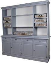 HSM Collection Buffetkast met manden Elizabeth - grijs/wit