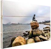 De kleine zeemeermin Kopenhagen Hout 60x40 cm - Foto print op Hout (Wanddecoratie)