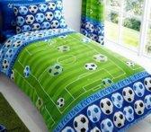 1 persoons jongensdekbedovertrek voetbalveld met voetballen blauw