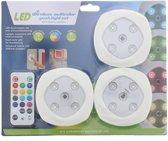 Druklampen Set met Afstandsbediening |Led | Draadloos | Multikleur | 16 Kleuren | Lamp | Verlichting | Binnen | Set van 3 Stuk