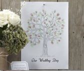 Gastenboek Vingerprint boom groen/bruin - Our wedding day