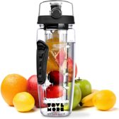 TravelMore Waterfles met Fruit Infuser – Drinkfles met Fruit Filter – Plastic Water Drink Fles – Sportfles – 100% BPA Vrij – Zwart - 900ML