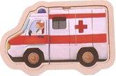 Mama Memo Vormenpuzzel Ambulance Hout 5 Stukken 15 X 9,5 Cm