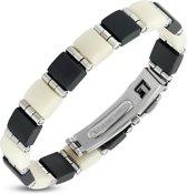 Amanto Armband Bianco - Heren - 316L Staal PVD - Rubber - 10 mm - 20 cm