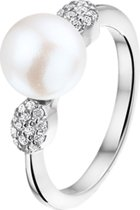 The Jewelry Collection Ring Parel En Zirkonia - Zilver Gerhodineerd