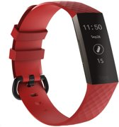 watchbands-shop.nl Siliconen bandje - Fitbit Charge 3 - Rood - Large
