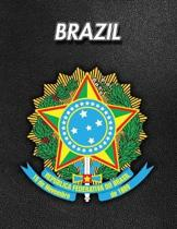 Brazil: Coat of Arms - Composition Book 150 pages 8.5 x 11 in. - Wide Ruled - Writing Notebook - Lined Paper - Soft Cover - Pl