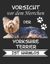 Vorsicht vor dem Herrchen der Yorkshire Terrier ist Harmlos: Notizbuch A4 Liniert Lustig Geschenk Hundeliebhaber Hunderasse