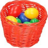 Rood paasmandje met gekleurde eieren 14 cm mandjes met paaseieren
