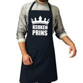 Keuken Prins barbeque schort / keukenschort navy blauw voor heren - bbq schorten