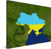 Satellietbeeld van Oekraïne met de vlag Canvas 80x60 cm - Foto print op Canvas schilderij (Wanddecoratie woonkamer / slaapkamer)
